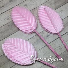 Листик из ткани на проволоке, 35х50 мм., цв. розовый (10 шт.)