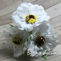 Цветы из ткани на проволоке, ок. 45 мм,  цв. белый  (3 шт.)