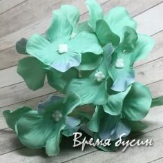 """Цветок из ткани """"Гортензия"""", ок. 100 мм., цв. мятный (1 шт.)"""