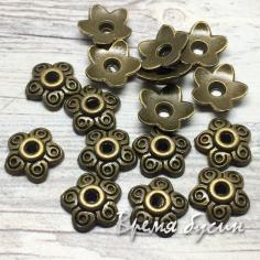 Шапочки для бусин 9 мм, цв. бронза (5 гр., ок. 12 шт.)