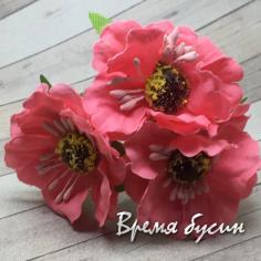 Цветы из ткани на проволоке, ок. 45 мм,  цв.  лососевый (3 шт.)