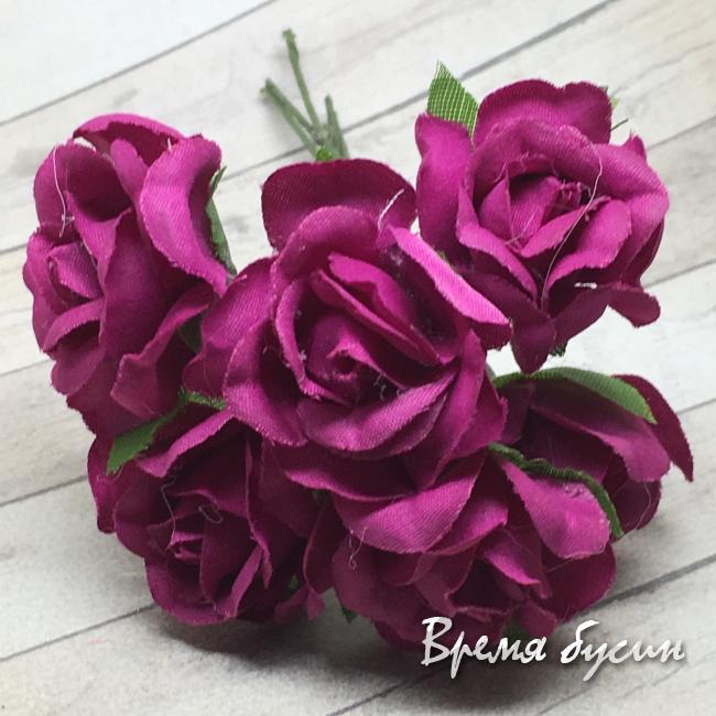Цветы из ткани на проволоке, роза ок. 20 мм,  цв. бордовый  (6 шт.)