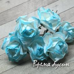 Цветы из бумаги, букетик роз, 20 мм цв. бело-бирюзовый  (6 шт.)
