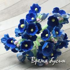 Букетик цветов из бумаги, цв. синий (4 шт.)