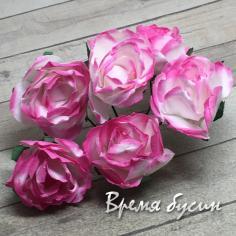 Цветы из бумаги, букетик роз, 20 мм цв. бело-розовый  (6 шт.)