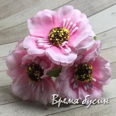 Цветы из ткани на проволоке, ок. 45 мм,  цв.  розовый  (3 шт.)