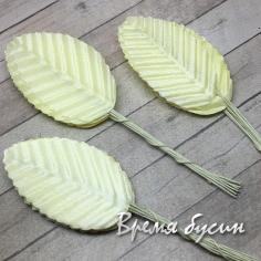 Листик из ткани на проволоке, 35х50 мм., цв. лимонный (10 шт.)