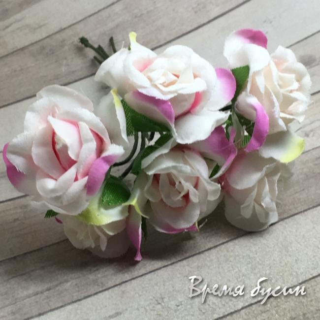 Цветы из ткани на проволоке, роза ок. 20 мм,  цв. бело-розовый  (6 шт.)