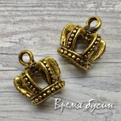 Корона, подвеска металлическая, цв. золото (1 шт.)