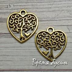 Сердце с деревом, подвеска металлическая, цв. золото (1 шт.)