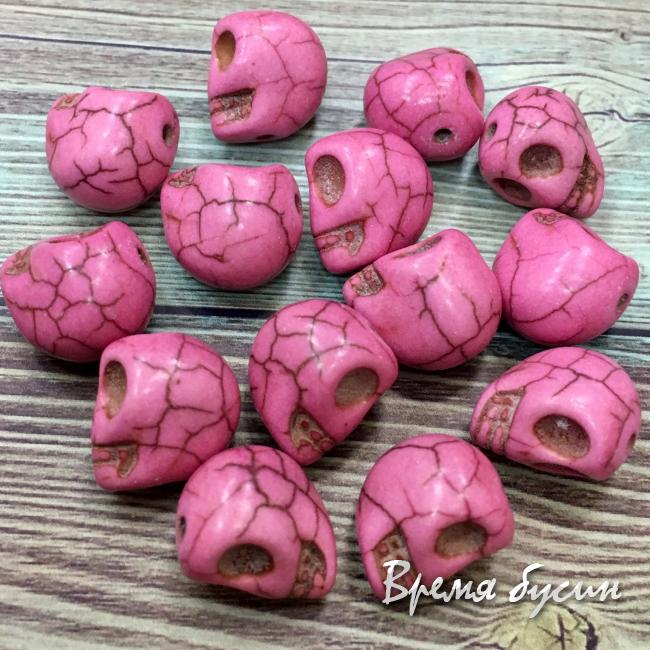Говлит, бусина череп, цв. темно-розовый (1 шт.)