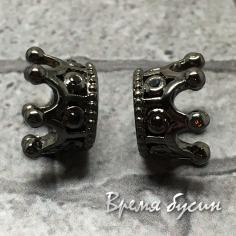 Бусина «Корона» с фианитами, латунь с черным родиевым покрытием, 7х10 мм  (1 шт.)