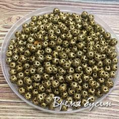 Бусины из филиграни, 4 мм, цвет бронза (5 гр., ок. 100 шт.)