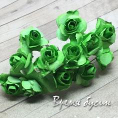 Цветы из бумаги, букетик роз, 10 мм цв. ЗЕЛЕНЫЙ (12 шт.)