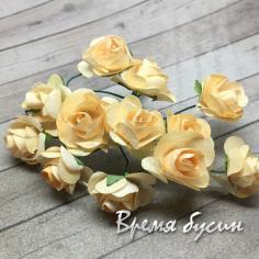 Цветы из бумаги, букетик роз, 10 мм цв. КРЕМОВЫЙ (12 шт.)