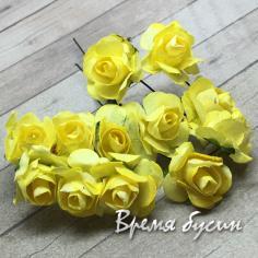 Цветы из бумаги, букетик роз, 10 мм цв. ЖЕЛТЫЙ (12 шт.)
