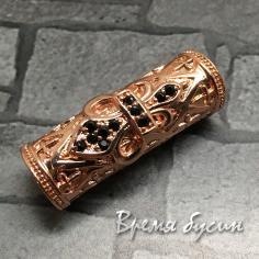 """Бусина """"Трубочка"""" с чёрн. фианитами, латунь с роз. позолотой, 8х26 мм (1 шт.)"""