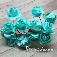 Цветы из бумаги, букетик роз, 10 мм цв. МЯТНЫЙ (12 шт.)