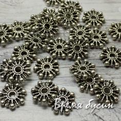 Разделители для бусин под серебро, 9 мм (5 гр., ок.16 шт.)