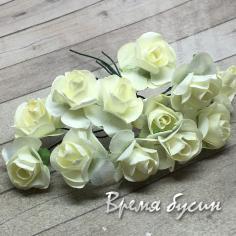 Цветы из бумаги, букетик роз, 10 мм цв. МОЛОЧНЫЙ (12 шт.)