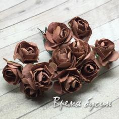 Цветы из бумаги, букетик роз, 10 мм цв. КОРИЧНЕВЫЙ (12 шт.)