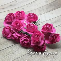 Цветы из бумаги, букетик роз, 10 мм цв. МАЛИНОВЫЙ (12 шт.)