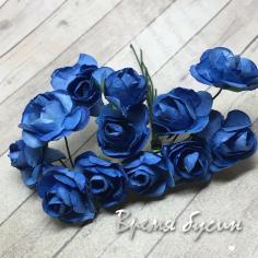 Цветы из бумаги, букетик роз, 10 мм цв. СИНИЙ  (12 шт.)