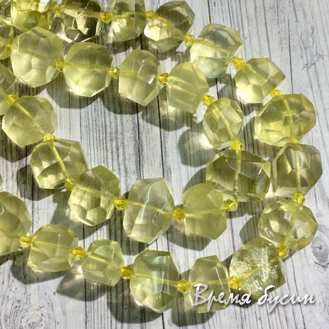 Лимонный кварц, бусины свободной огранки ок. 13х16 мм (1/2 нити, ок. 12 шт.)