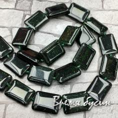Авантюрин зеленый. Прямоугольник плоский 13х18 мм (1/2 нити, ок.12 шт.)