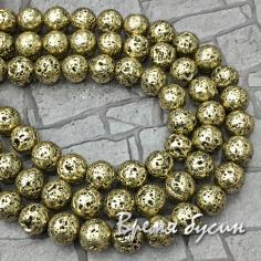 Лава металлизированная, шарик гладкий 8 мм (1/2 нити, ок. 23 шт.)
