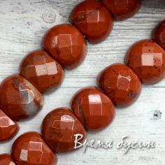 Авантюрин коричневый. Бусины граненые с двумя отверстиями 10х14 мм (20 шт.)
