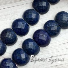 Авантюрин синий. Бусины граненые с двумя отверстиями 10х14 мм (20 шт.)
