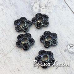 Шапочки для бусин 8 мм с фианитами. Латунь с черным родиевым покрытием (1 шт.)