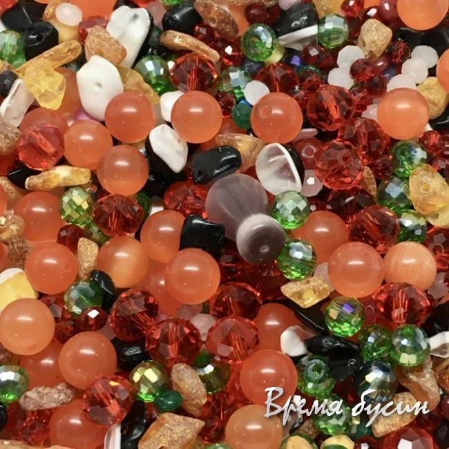 Микс бусин из стекла и камня (упак. 10 гр., ок. 40 шт.)