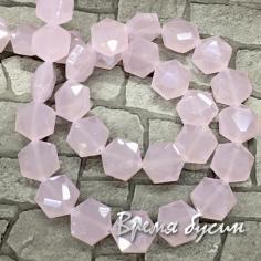 Бусины из граненого стекла, шестигранник 10х12             мм (1/2 нити,  15     шт.)