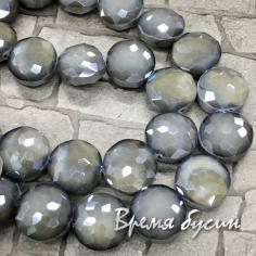 Бусины из граненого стекла, круг 14             мм (1/2 нити,  12     шт.)