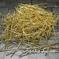 Пины с петелькой. Цвет золото. 50 мм (10 гр.)