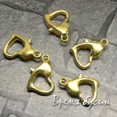 Карабин сердечком, цв. золото, 8х10 мм (1 шт.)