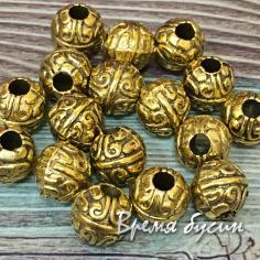 Разделители для бусин под золото, 7 мм  (5 гр., ок. 4 шт.)