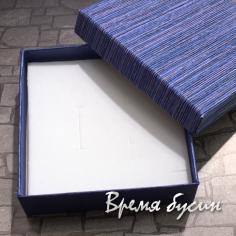 Коробочка подарочная квадратная 9х9х3 см, цв. синий