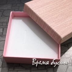 Коробочка подарочная квадратная 9х9х3 см, цв. розовый