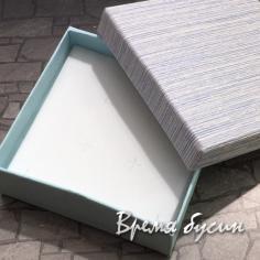 Коробочка подарочная квадратная 9х9х3 см, цв. голубой