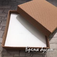 Коробочка подарочная квадратная 9х9х3 см, цв. коричневый
