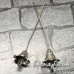 Пины с колокольчиком 0.7х55 мм, латунь с родиевм покрытием (2 шт.)
