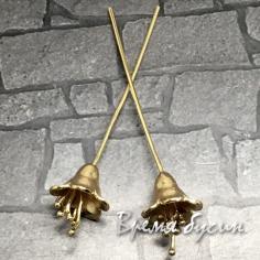 Пины с колокольчиком 0.7х55 мм, латунь с позолотой (2 шт.)