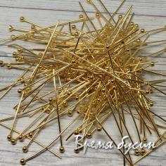 Пины с шариком, 30 мм, цв. золото (10 гр.)