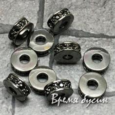 Бусина разделитель с черными фианитами, 3х6 мм, латунь с черным родиевым покрытием (1 шт.)