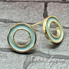 Швензы-гвоздики с эмалью цв. голубой, латунь с позолотой  (1 пара)