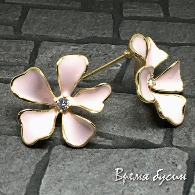 Швензы-гвоздики с эмалью цв. розовый, латунь с позолотой  (1 пара)