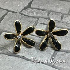 Швензы-гвоздики с эмалью цв. черный, латунь с позолотой  (1 пара)